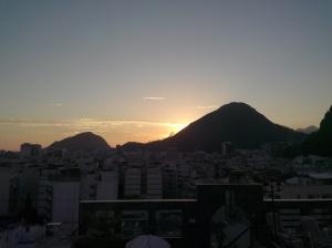Solnedgang fra taket