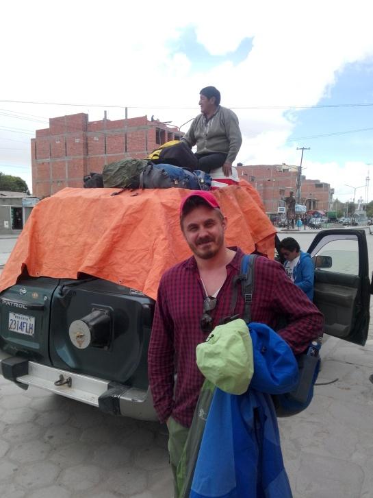 Foran bilen til Santiago