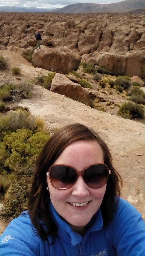 Målfrid-selfie blant stein