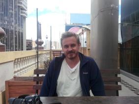 Thomas på takrestaurant i La Paz