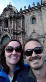 Selfie foran katedralen i Cusco