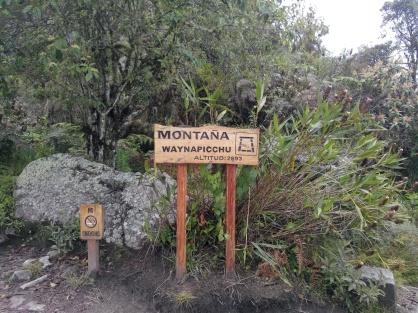 Skilt på toppen av Wayna Picchu