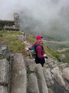 Thomas på vei ned fra Wayna Picchu